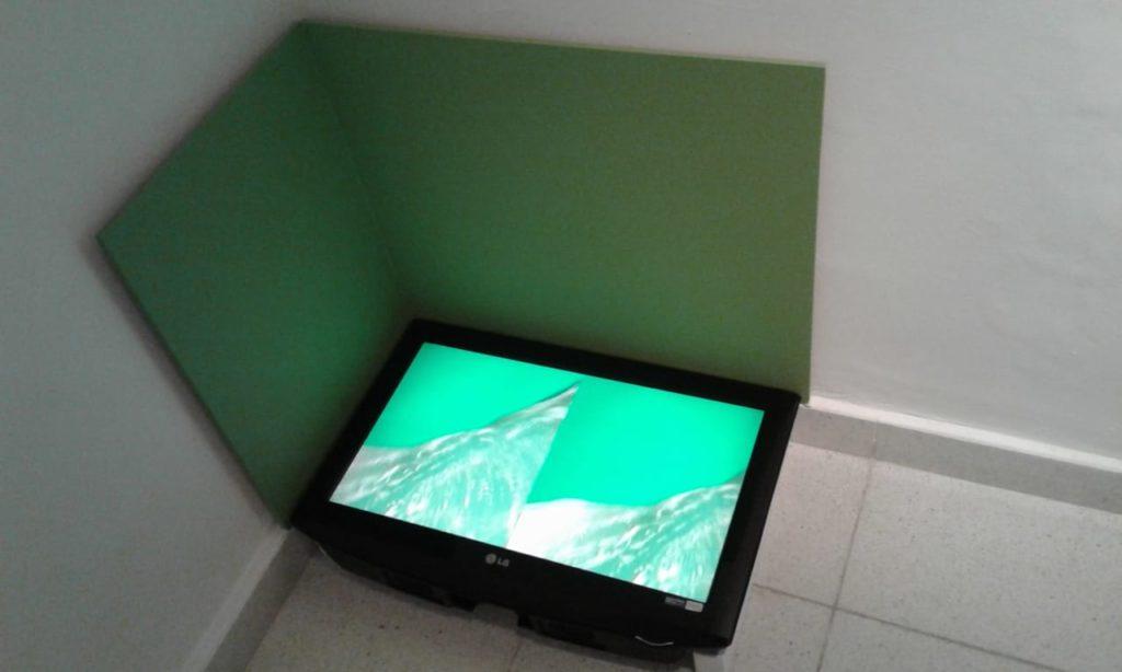 Río virtual en pantalla verde